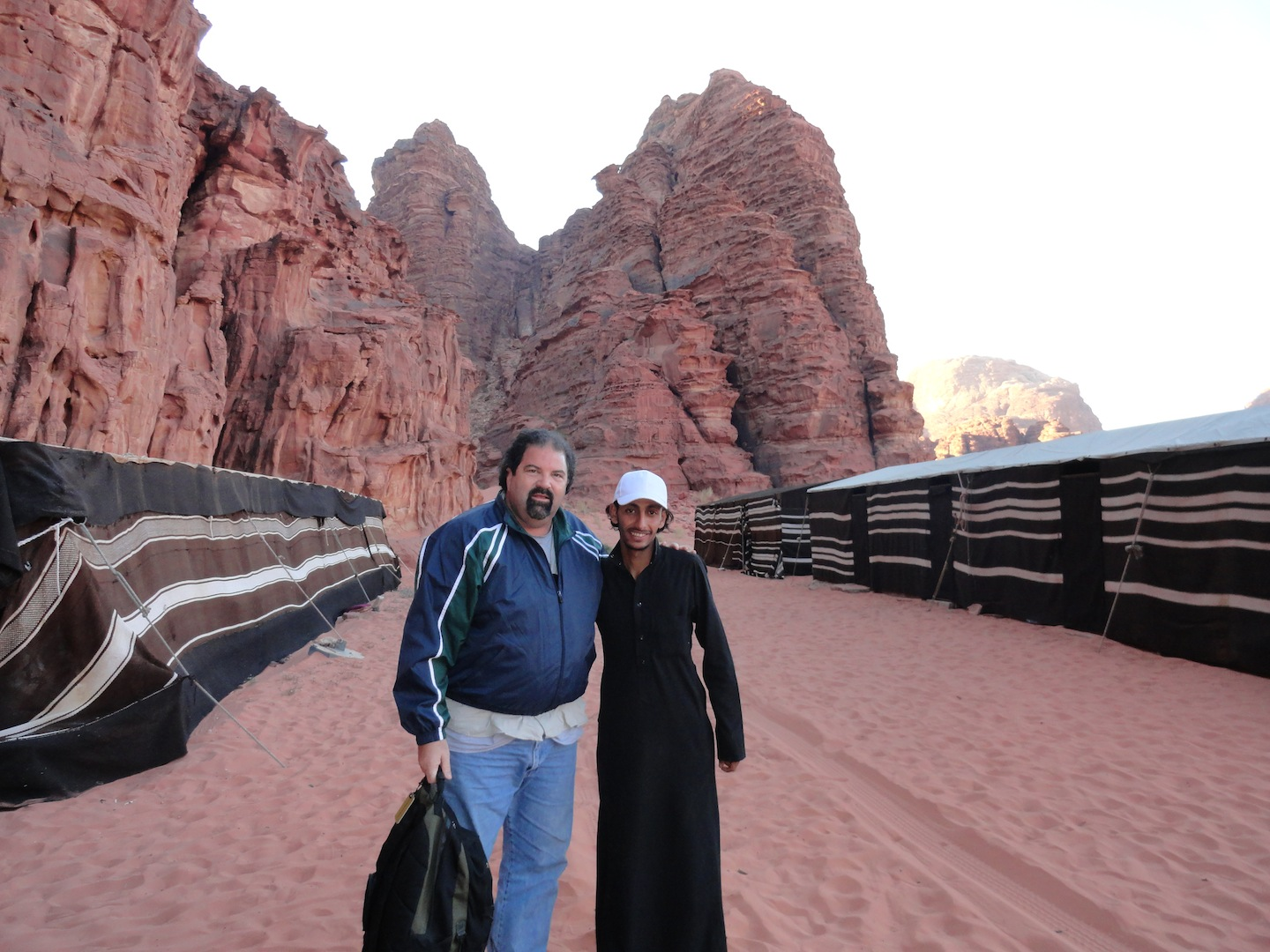 Randy and Muhammed in the desert at Wadi Rum