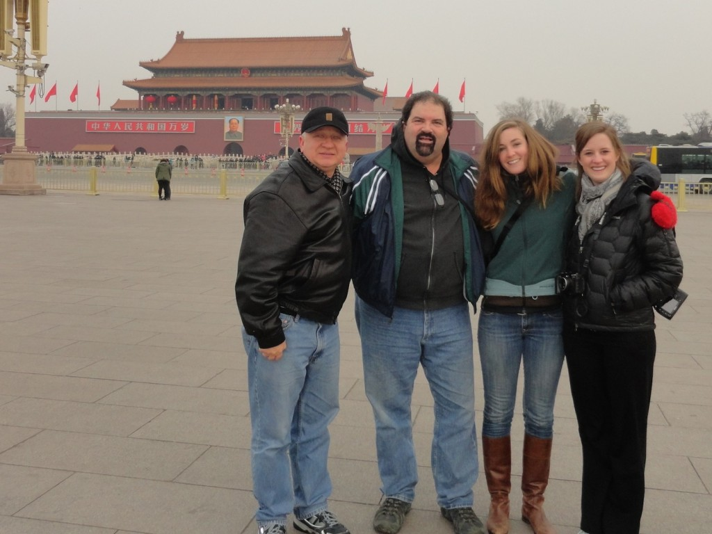 The gang in Tiananmen Square, Beijing, China.  The Forbidden City is in the background.