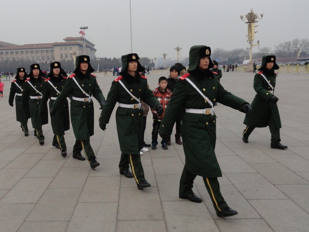 Soldiers in Tiananmen Square.