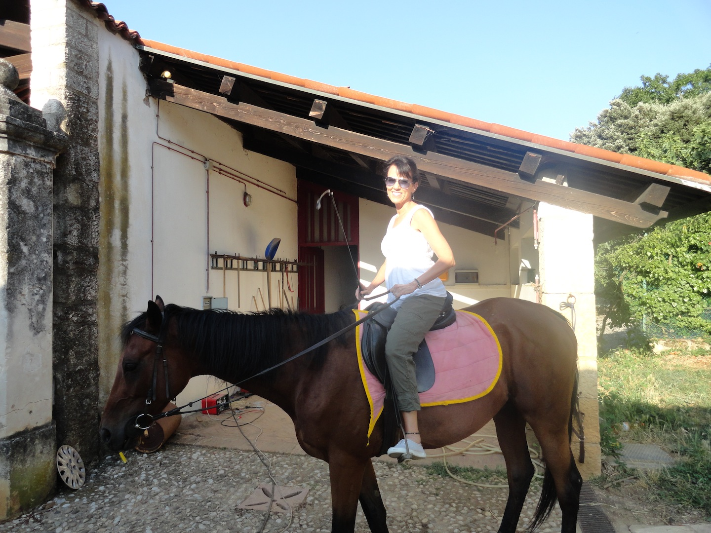 Sharon ready to ride through the hills of Vicenza!