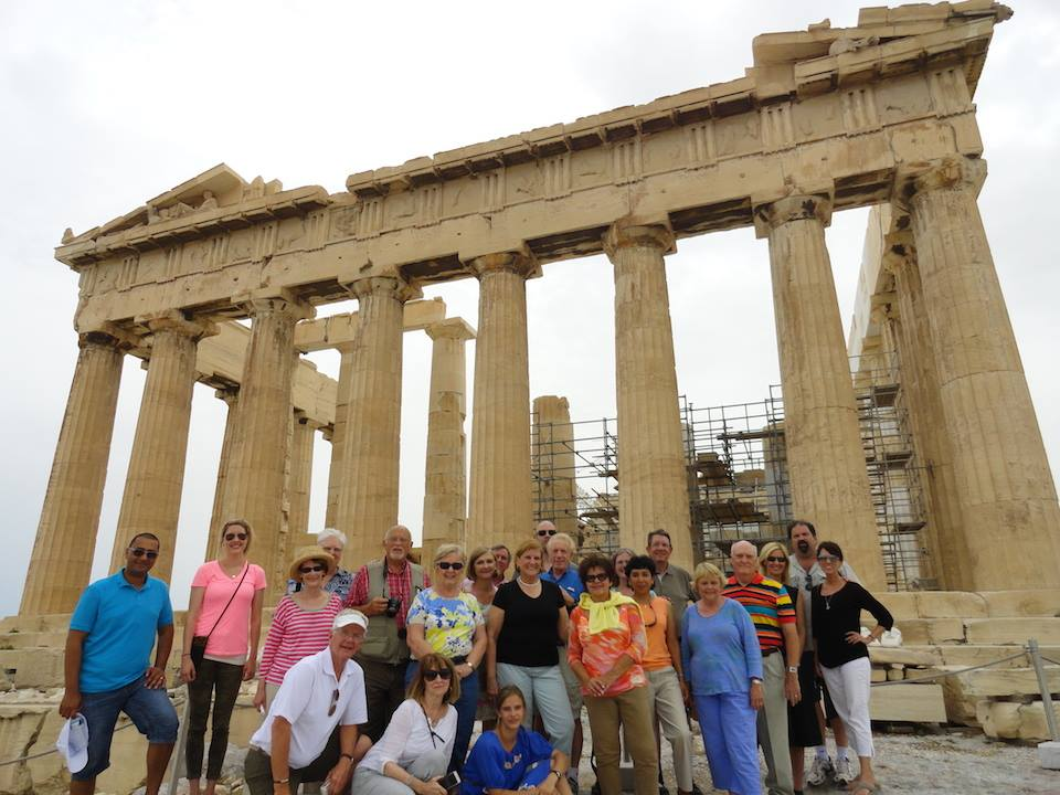 Team at Acropolis in Athens in front of the Parthanon