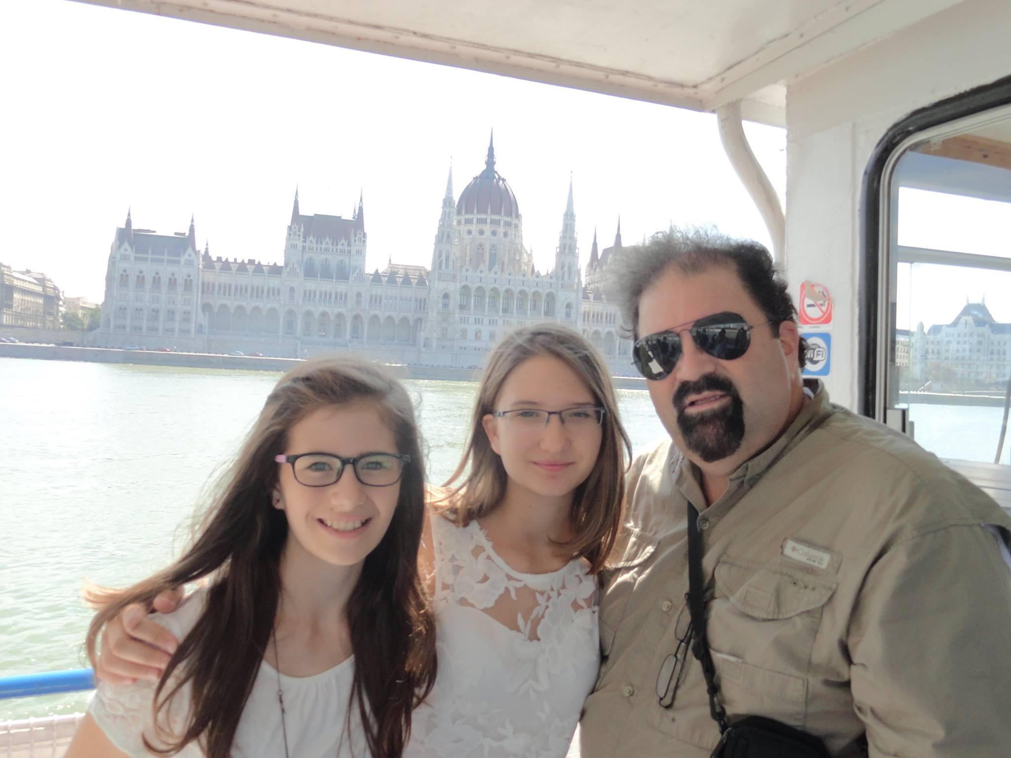 Randy with Futo girls on the Danube River