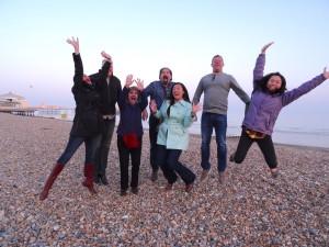 The Gang at the beach in Worthing, West Sussex, UK