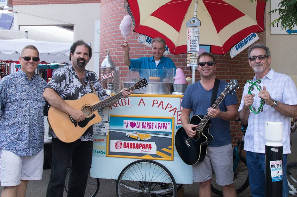 """The band and their favorite street vendor. He loved """"Johnny Cash!"""""""
