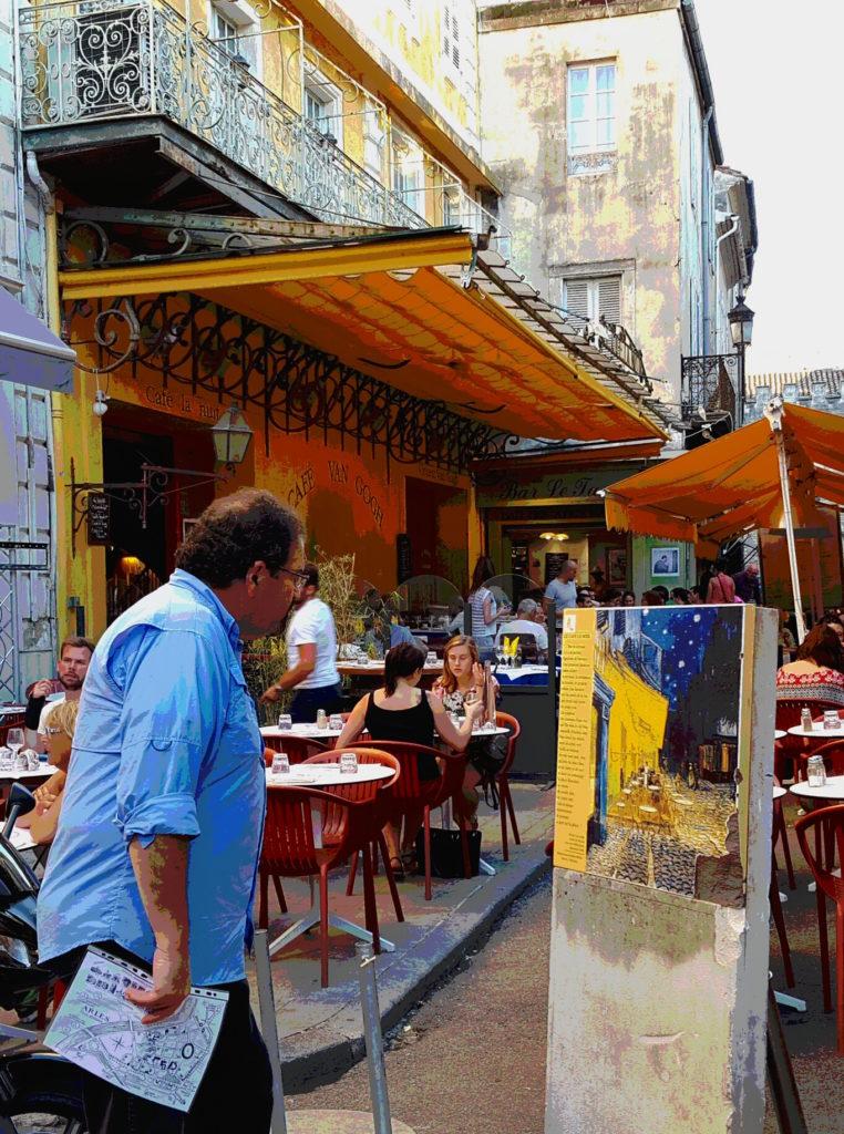 Randy at Van Gogh restaurant where he painted. (Van Gogh, that is!)